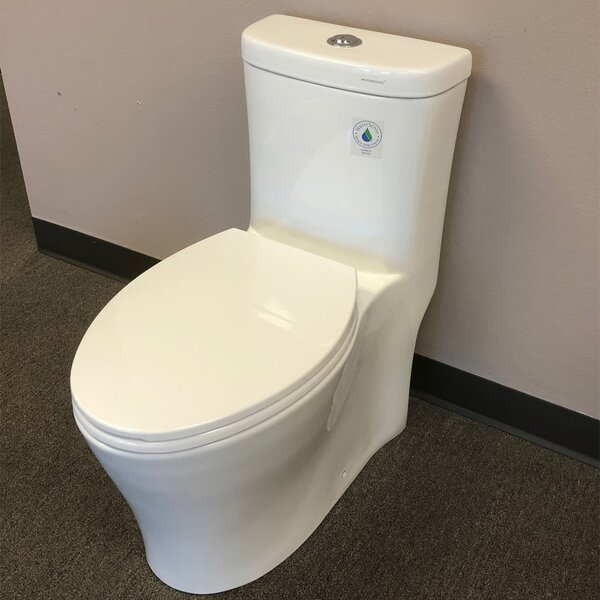 Compact Dual Flush Elongated One-Piece Toilet by WoodBridge