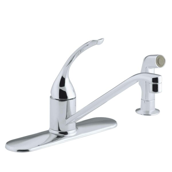 Coralais Three-Hole Kitchen Sink Faucet with 10 Spout, Matching Finish Sidespray, Ground Joints and Loop Handle by Kohler