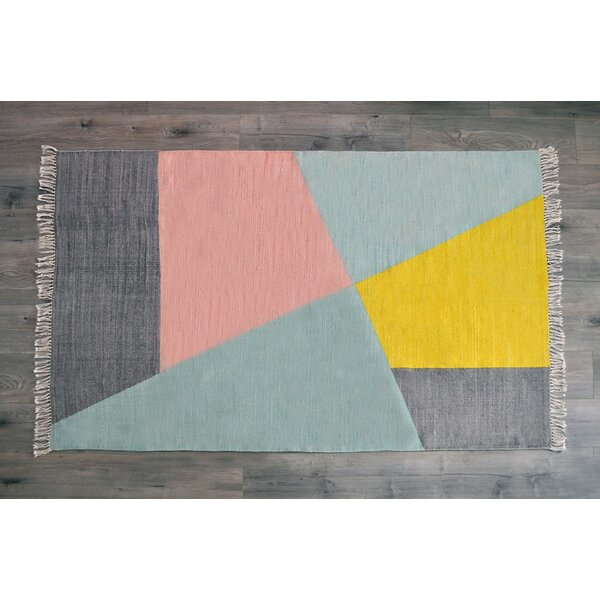 Dulaney Hand Woven Cotton Gray/Yellow Area Rug by Ivy Bronx