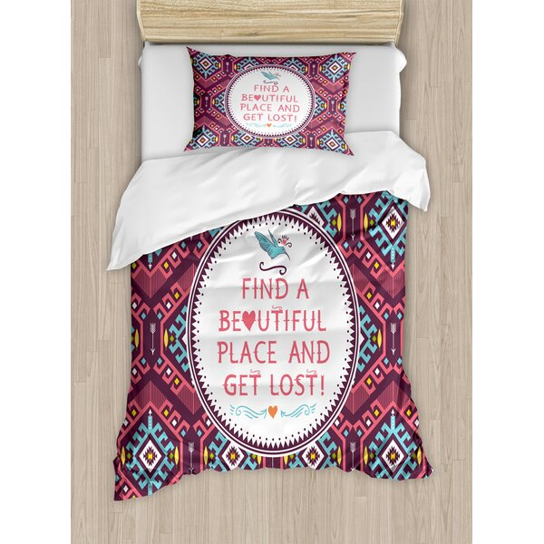 American Hipster Tribal Pattern Geometric Elements Typographic Text Duvet Set by East Urban Home