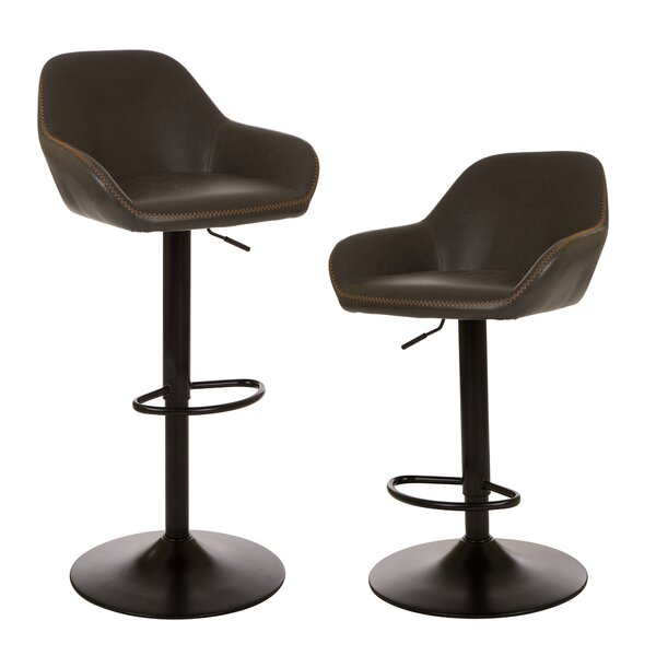 Thibodeaux Adjustable Height Swivel Bar Stool (Set of 2) by Mistana