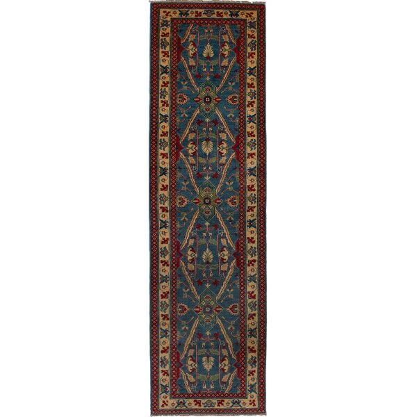 One-of-a-Kind Akins Hand-Knotted Wool Blue/Brown Area Rug by Isabelline