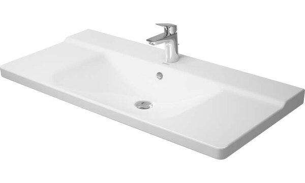 P3 Comforts Ceramic Rectangular Vessel Bathroom Sink with Overflow by Duravit