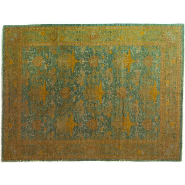 One-of-a-Kind Arts and Crafts Hand-Knotted Blue Area Rug by Darya Rugs