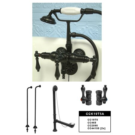 Vintage Wall Mount Down Spout Clawfoot Tub Faucet Package by Kingston Brass