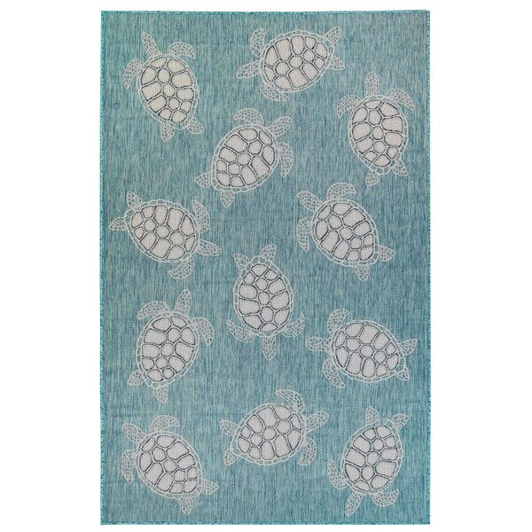 Desantiago Seaturtles Aqua/White Indoor/Outdoor Area Rug by Highland Dunes