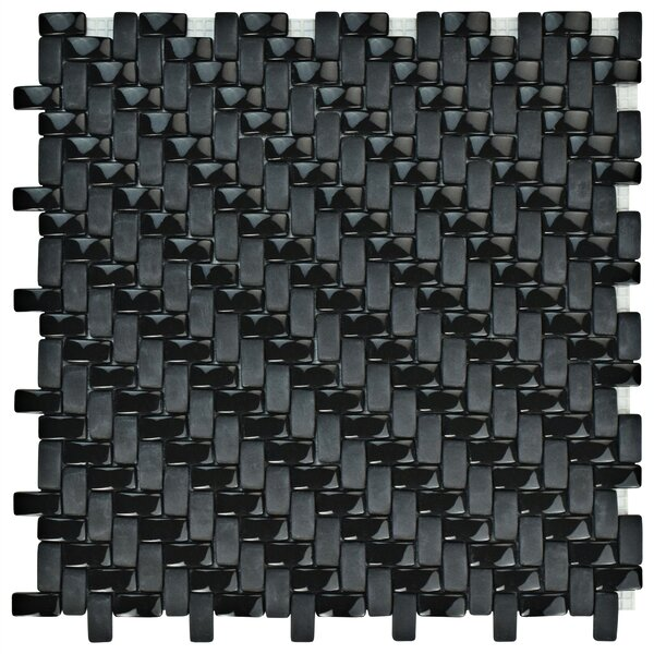Esamo Weave 0.48 x 0.96 Glass Mosaic Tile in Black by EliteTile