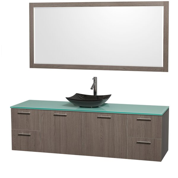Amare 72 Single Gray Oak Bathroom Vanity Set with Mirror by Wyndham Collection