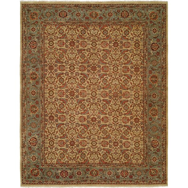 McCullom Hand Knotted Wool Ivory/Blue Area Rug by Astoria Grand