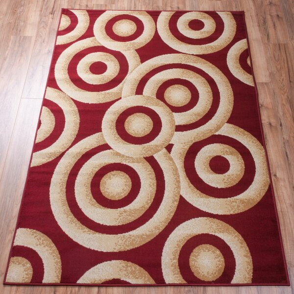 Shorey Circles Red/Gold Area Rug by Ebern Designs