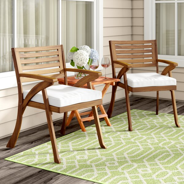 Coyne Patio Dining Chair with Cushion (Set of 2) by Beachcrest Home