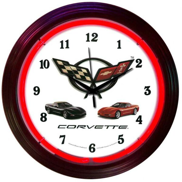 Cars and Motorcycles 15 Corvette Wall Clock by Neonetics