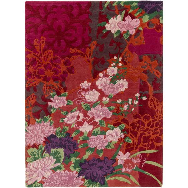 Coale Hand-Knotted Red/Orange Area Rug by Astoria Grand