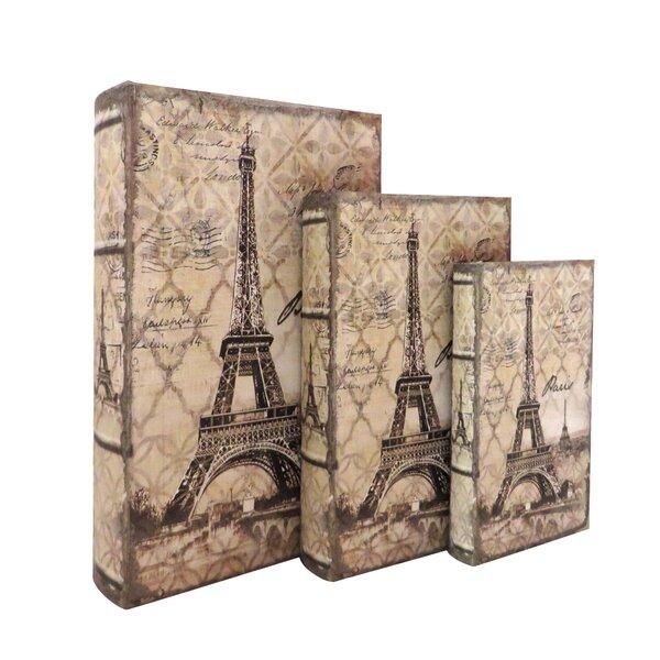 Eiffel Tower Storage Wood 3 Piece Decorative Box Set by Jeco Inc.