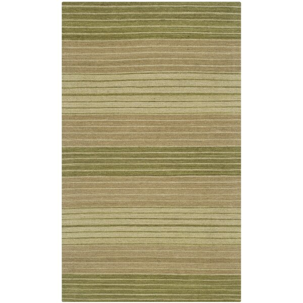 Jefferson Hand Woven Cotton Green Area Rug by Wrought Studio