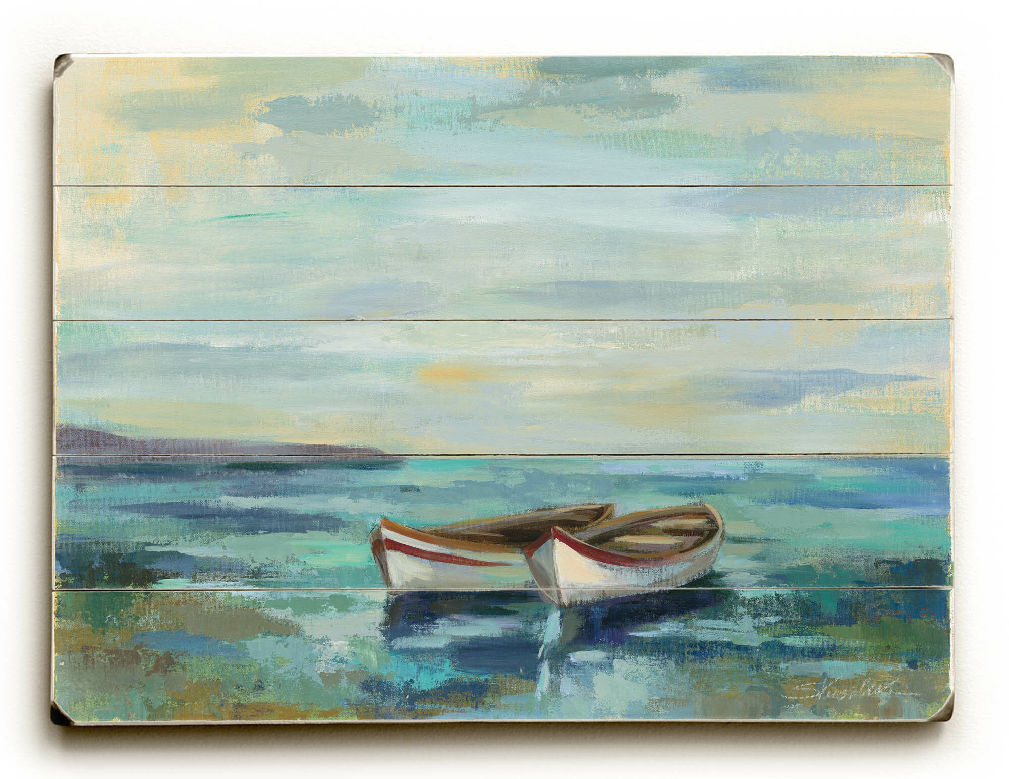 Beachcrest Home Boats At The Beach Graphic Art Print On Wood Reviews Wayfair