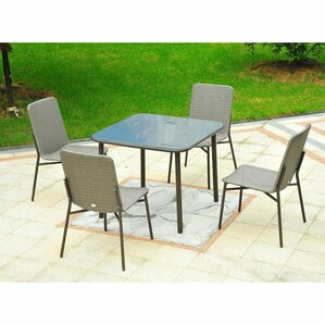 Correa Metal Rattan Wicker Outdoor Furniture 5 Piece Dining Set