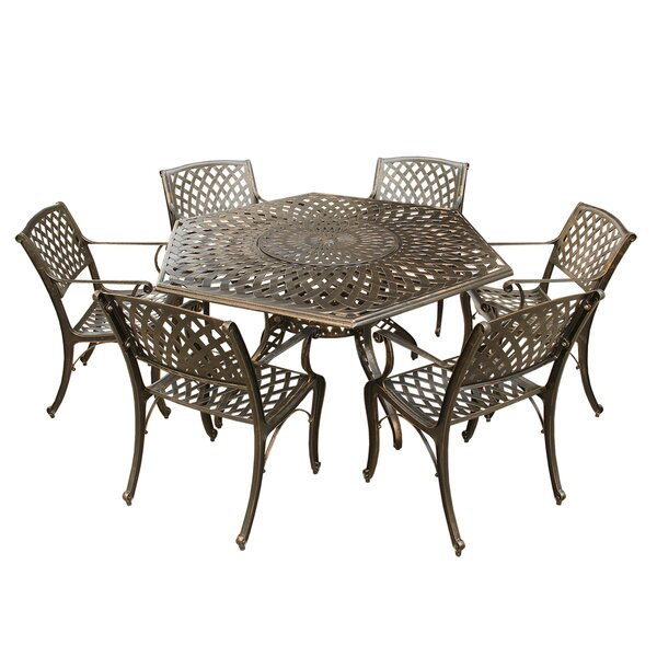 Cassella Outdoor Mesh Lattice 7 Piece Dining Set by Fleur De Lis Living
