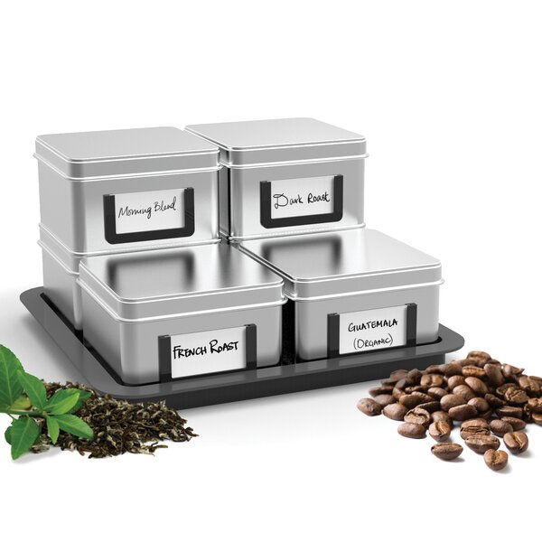 Stax 7 Piece Loose Leaf Tea/Coffee Canister Set with Tray by Mind Reader