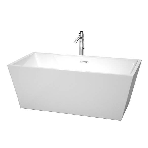 Sara 63 x 31.5 Soaking Bathtub With Floor Mounted Faucet in Polished Chrome by Wyndham Collection
