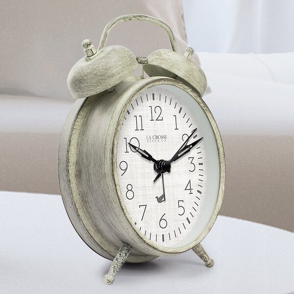 Weathered Metal Analog Table Clock by La Crosse Technology