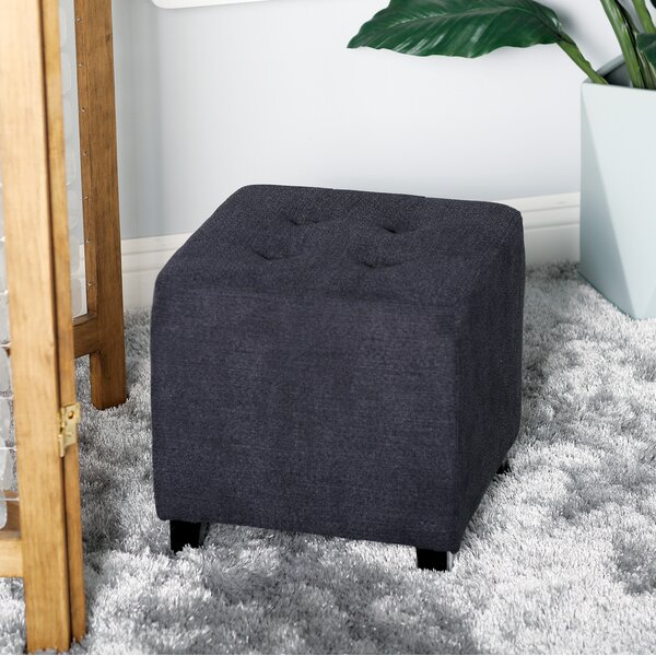 Stenson Contemporary Square Tufted Cube Ottoman by Winston Porter