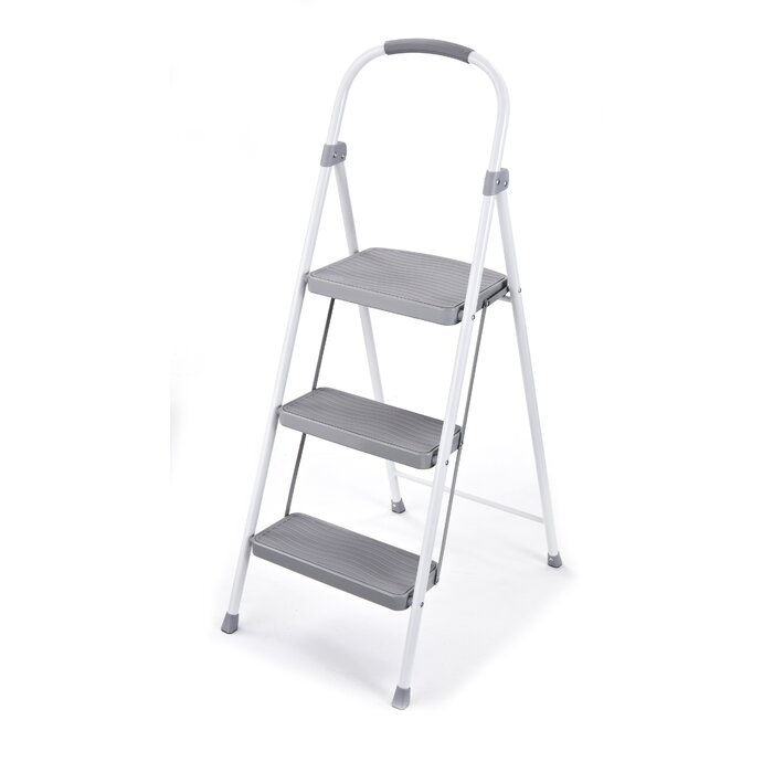 3 Step Steel Stool With 225 Lb Load Capacity