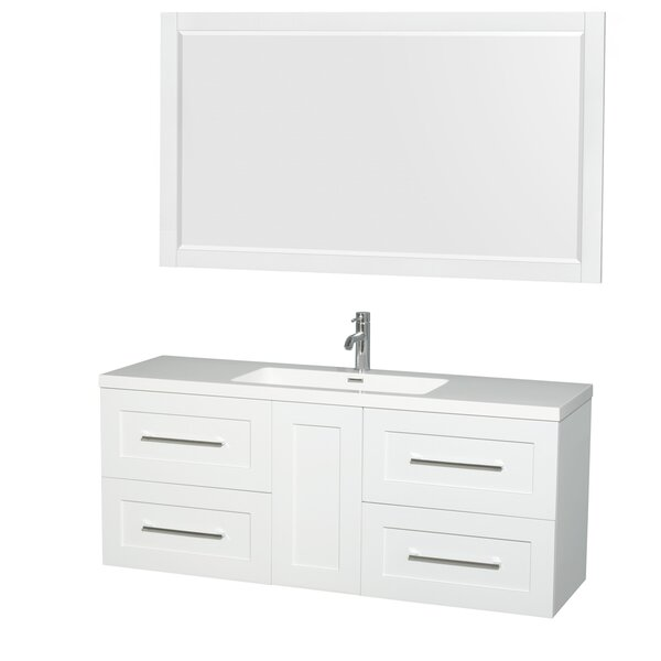Olivia 60 Single Glossy White Bathroom Vanity Set with Mirror by Wyndham Collection