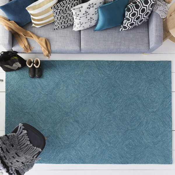 Bloch Hand-Tufted Turquoise Area Rug by Wrought Studio