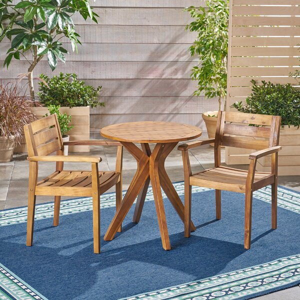 Mabie Outdoor 3 Piece Bistro Set by Bungalow Rose