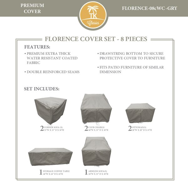Florence 8 Piece Patio Furniture Cover Set by TK Classics