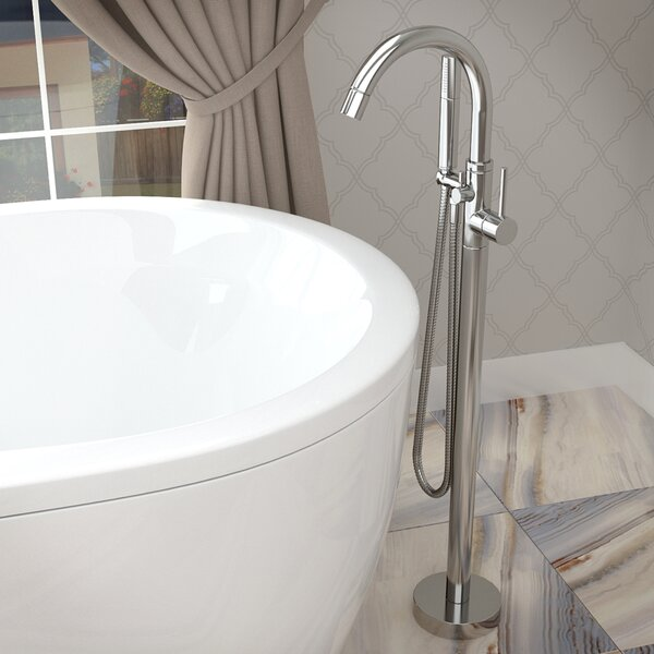 Double Handle Floor Mounted Claw Foot Bathtub Faucet with Hand Shower by ANZZI