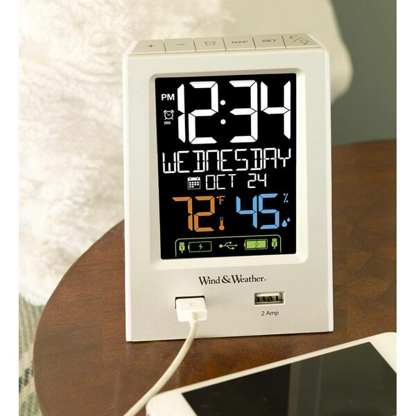 Digital Alarm Table Top Clock by Wind & Weather