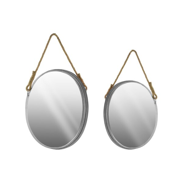Digna 2 Piece Oval Wall Mirror Set with Beveled Surface and Rope Hanger by Darby Home Co