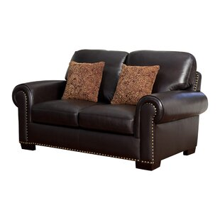 Alvis Leather Loveseat by Canora Grey