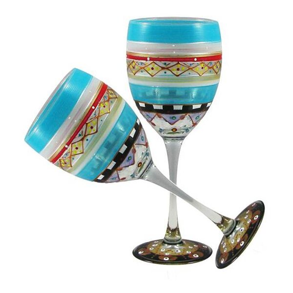 Mosaic Carnival Wine Glass (Set of 2) by Golden Hill Studio