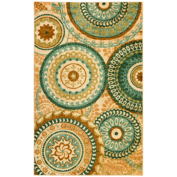 Bergen Teal Forest Suzani Area Rug by Red Barrel Studio
