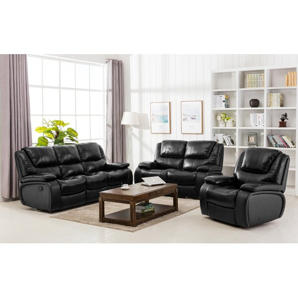 Hille Reclining 3 Piece Leather Living Room Set by Red Barrel Studio