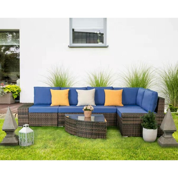 Halcott Patio Sectional with Cushions by Brayden Studio