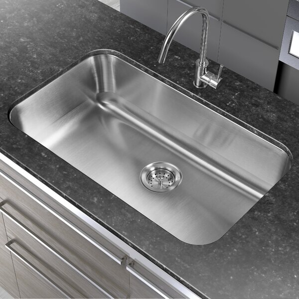 30 L x 18 W Single Basin Undermount Kitchen Sink by Winpro