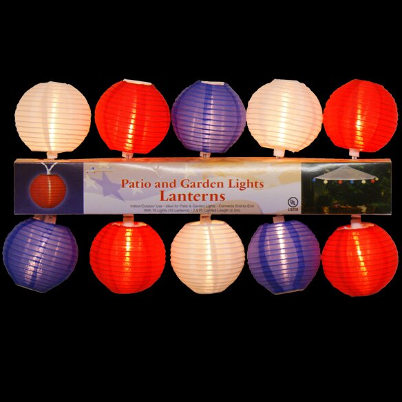 10 Light Patriotic Patio/Garden Lantern Set by Penn Distributing