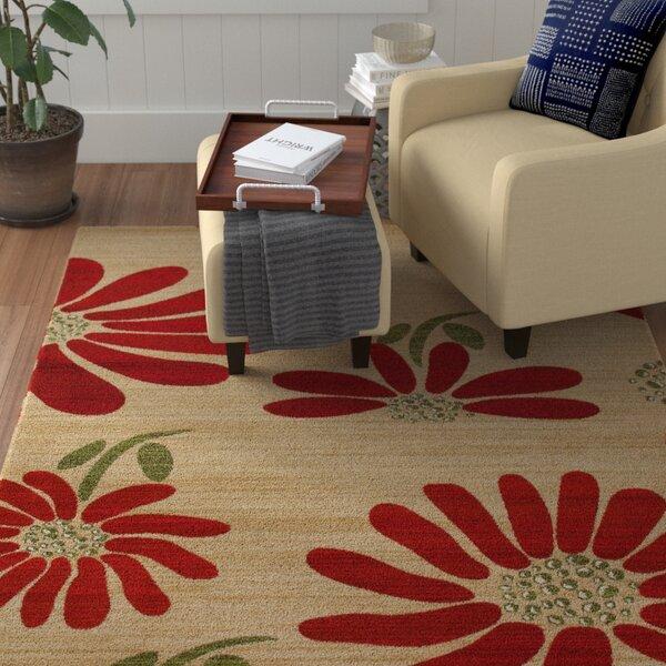 Vasser Spring Daisy Cream/Red Indoor/Outdoor Area Rug by Winston Porter