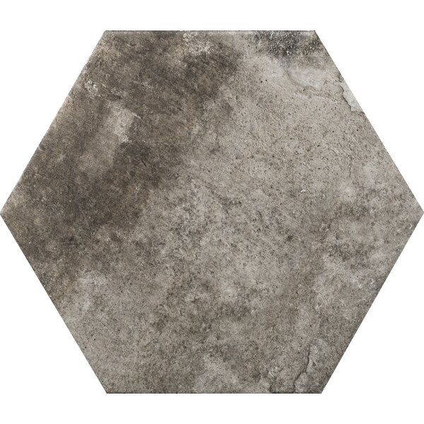 Newberry Hexagon 10 x 11 Porcelain Field Tile in Grafite by Emser Tile