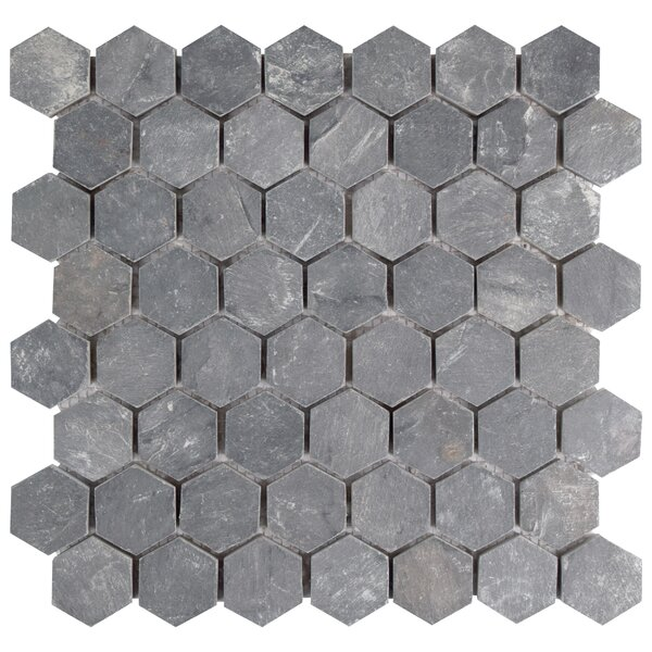 Peak 1.5 x 1.63 Natural Stone Mosaic Tile in Black by EliteTile