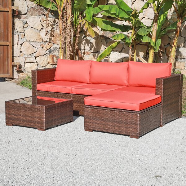 Alishya 5 Piece Rattan Sectional Seating Group with Cushions by Latitude Run