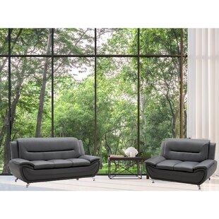 Alexies 2 Piece Faux Leather Living Room Set by Orren Ellis