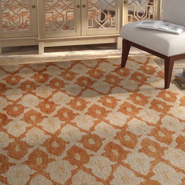 Allen Hand-Tufted Orange/Cream Area Rug by Bungalow Rose
