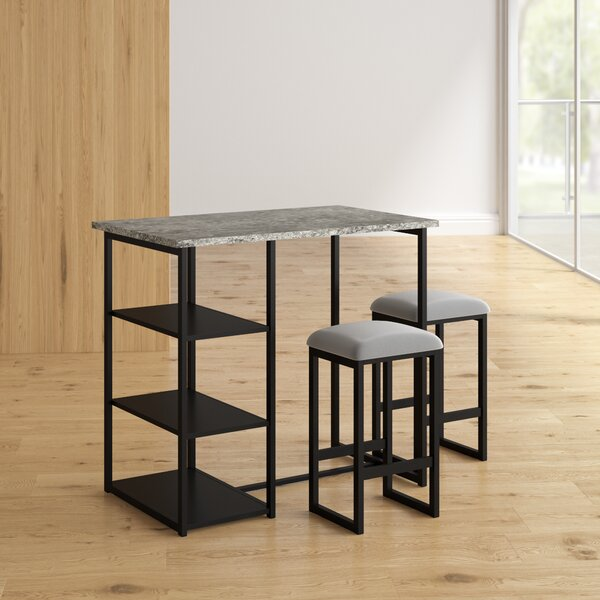 Denham 3 Piece Gray Pub Table Set by Mercury Row