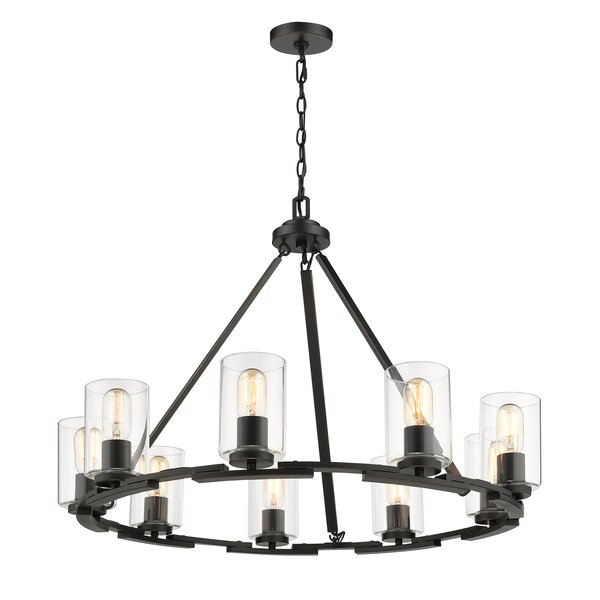 Saylor 9 - Light Shaded Wagon Wheel Chandelier By Williston Forge