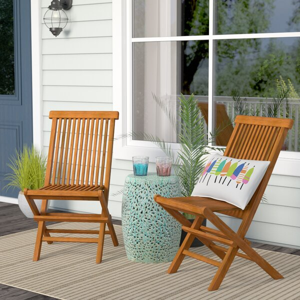 Millbrook Folding Teak Patio Dining Chair (Set of 2) by Beachcrest Home